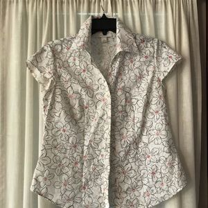 Dress barn blouse, size S, white, black flowers